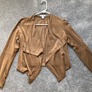 ✨Light Brown Faux Suede Asymmetrical Jacket